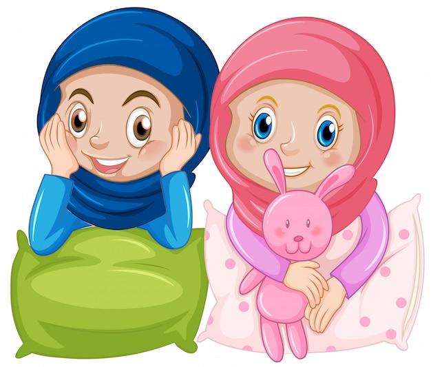 Amica musulmana su sfondo bianco