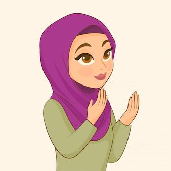 Ragazza musulmana che prega per allah