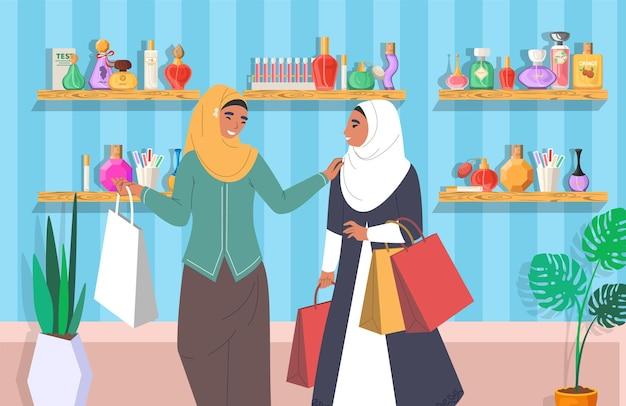 Ragazze musulmane nel negozio di profumi illustrazione vettoriale piatto donne arabe in abiti tradizionali e hijab ...