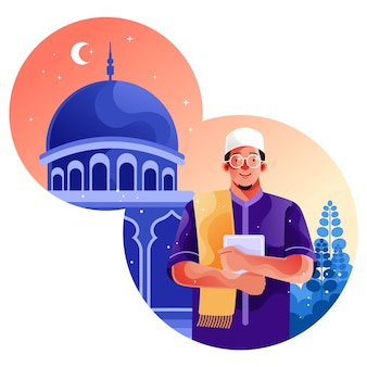 I musulmani vanno alla moschea con in mano il corano Vettore Premium