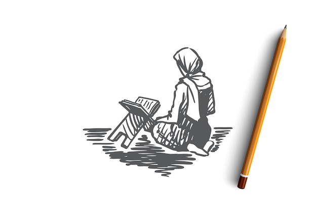 Musulmano, islam, religione, arabo, ragazza, corano, concetto di preghiera. ragazza araba disegnata a mano che si siede sulle ginocchia e schizzo di concetto di preghiera.
