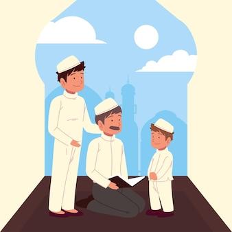 L'uomo musulmano spiega il corano al figlio