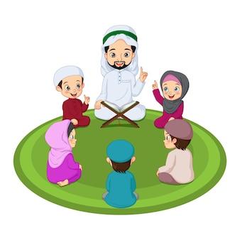 Uomo musulmano e i suoi studenti che studiano il sacro corano