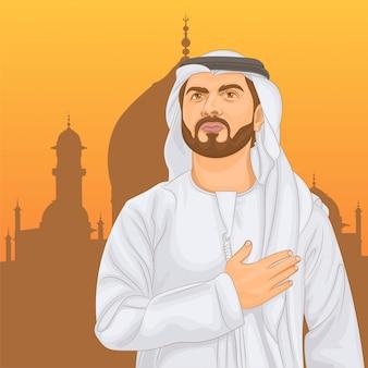 Uomo musulmano che tiene la mano sul cuore