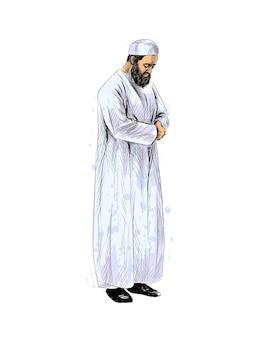 Uomo musulmano che prega, schizzo disegnato a mano. illustrazione