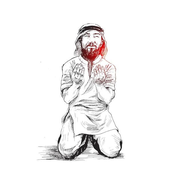 Uomo musulmano che prega, fondo di vettore di schizzo disegnato a mano.