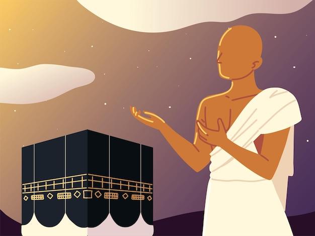 Uomo musulmano che prega nella mecca