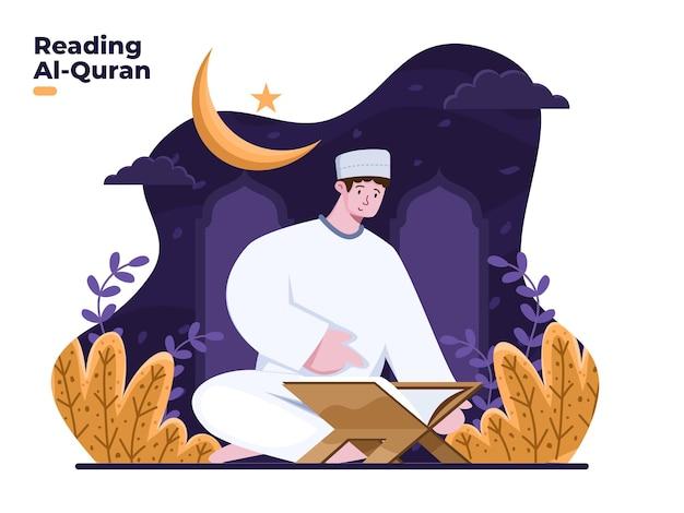 Uomo musulmano che legge l'illustrazione sacra di al quran