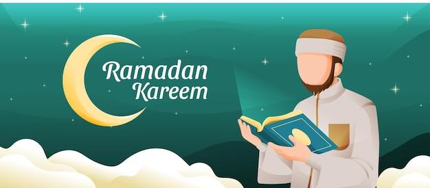 Uomo musulmano che legge il corano o il corano nel mese sacro di ramadan kareem con la luna crescente e l'illustrazione delle stelle