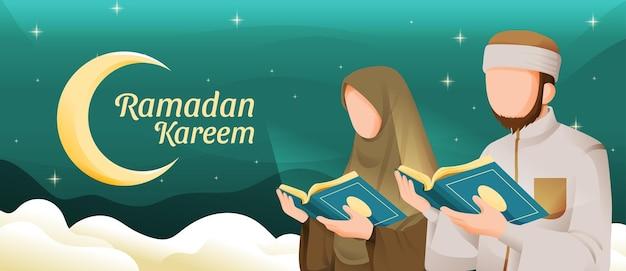 Uomo musulmano e donna che leggono il corano o il corano nel mese sacro di ramadan kareem con la luna crescente e l'illustrazione delle stelle