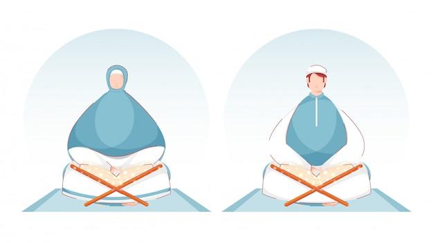 Uomo e donna musulmani che leggono il libro magico del corano sulla stuoia blu.