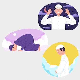 Preghiera musulmana degli uomini con il giorno di notte del cielo ramadan