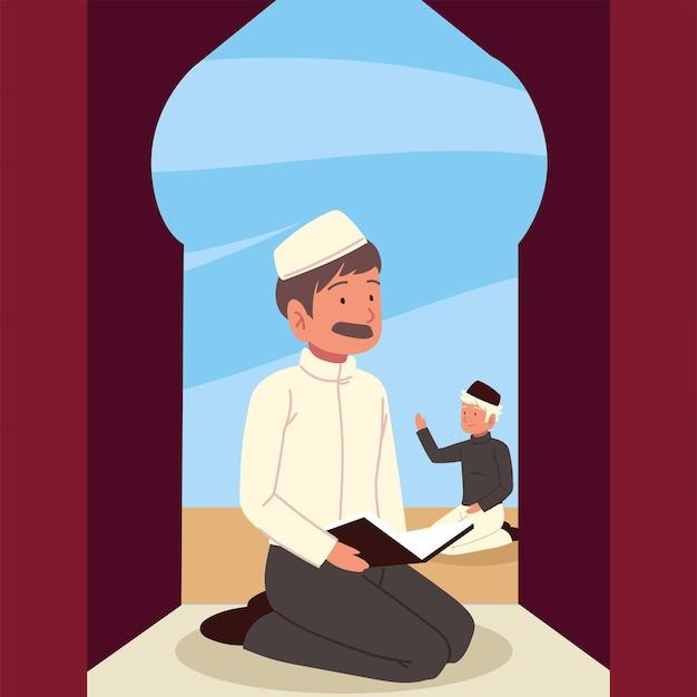 Uomini musulmani in posizione di prostrazione in moschea