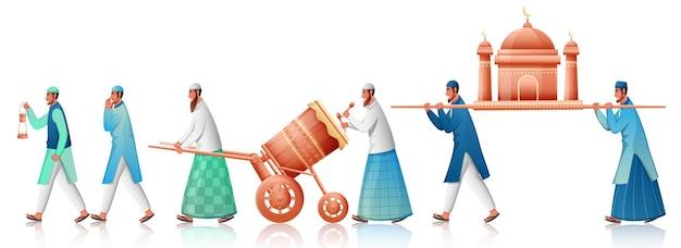 Il popolo musulmano che trasportano la moschea con il gioco tabuh bedug (tamburo) su sfondo bianco.
