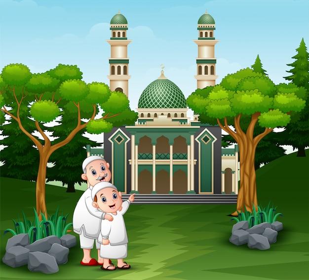 Cartone animato di persone musulmane andando alla moschea