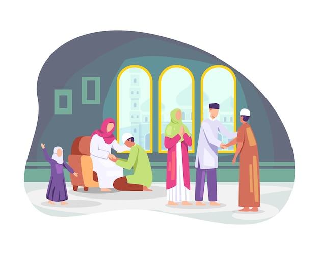 I musulmani che celebrano l'eid al fitr. stringendosi la mano augurandosi l'un l'altro, le famiglie si riuniscono