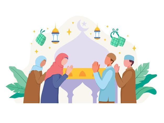 I musulmani salutano e celebrano l'eid al fitr. illustrazione in uno stile piatto