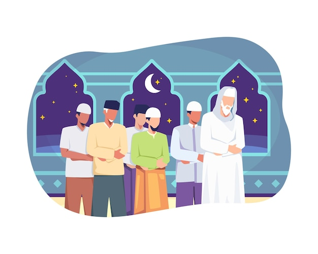 I musulmani eseguono la notte di preghiera taraweeh durante il ramadan. illustrazione stile piatto