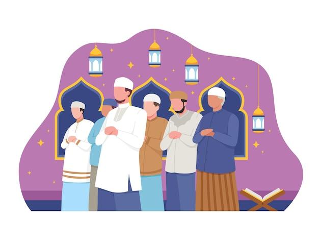 I musulmani eseguono la notte di preghiera taraweeh durante il ramadan. illustrazione in uno stile piatto
