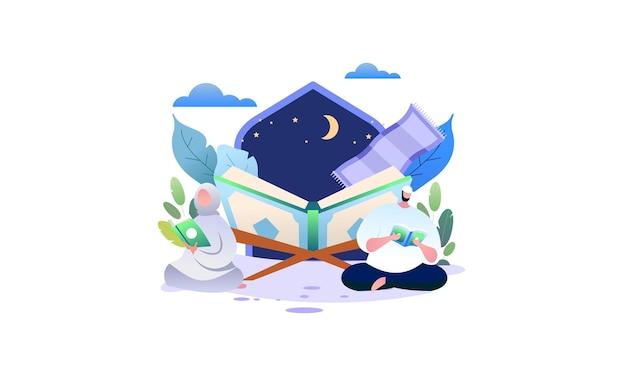 Musulmani che leggono e imparano l'illustrazione del corano