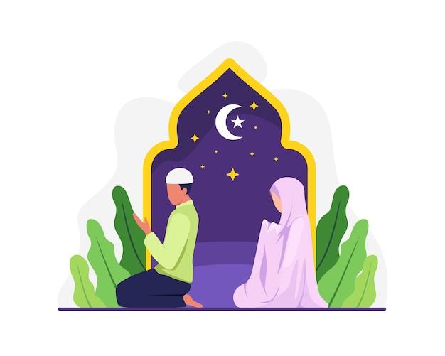 Preghiera tarawih del popolo musulmano nella congregazione. musulmani eseguono la notte di preghiera taraweeh durante il ramadan