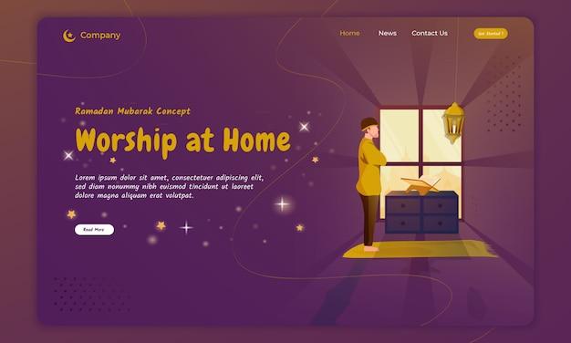 Un musulmano prega e adora a casa per il concetto di ramadan sulla landing page