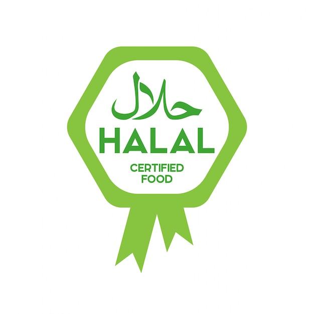 Vettore halal tradizionale musulmano dell'icona dell'alimento. distintivi, logo, tag ed etichetta. adatto per bann