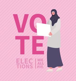 Fumetto della donna musulmana con disegno del bordo della bandiera, giorno delle elezioni di voto e tema del governo.