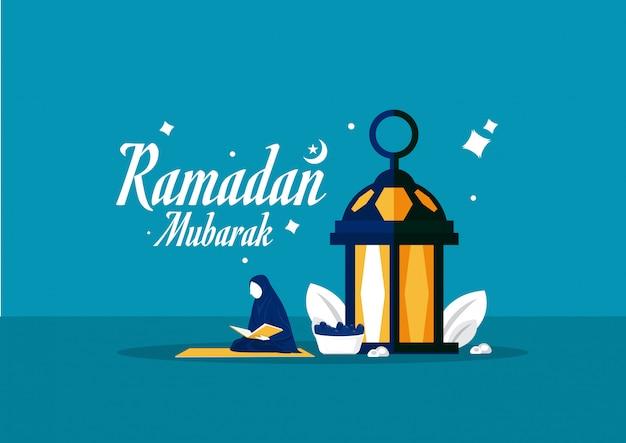 Donna musulmana che fa leggendo al quran, mese santo del ramadan, illustrazione