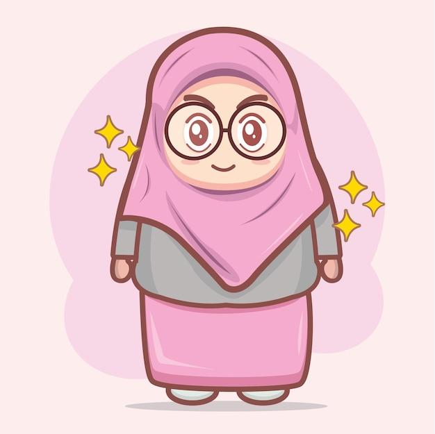 Illustrazione del personaggio dei cartoni animati della ragazza musulmana