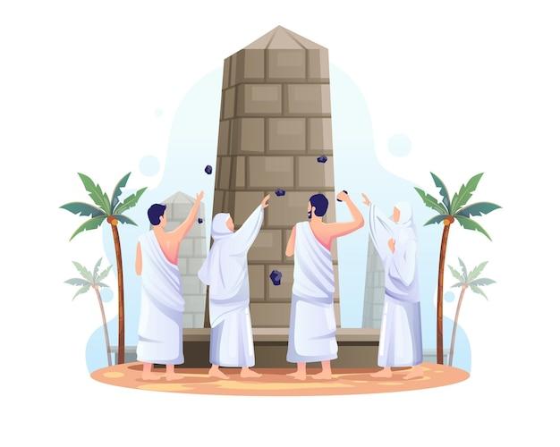 I musulmani stanno lanciando pietre contro il pilastro del diavolo nell'illustrazione del pellegrinaggio islamico hajj