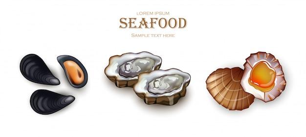 Ostriche di cozze e frutti di mare di capesante