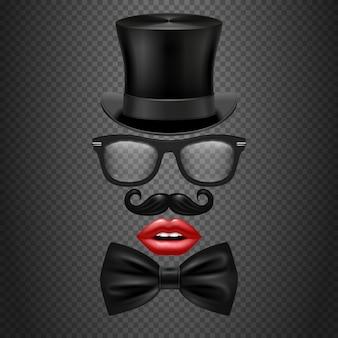 Baffi, cravatta a farfalla, occhiali, labbra rosse da ragazza e cappello a cilindro. cabina fotografica realistica hipster