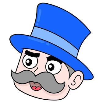 Testa di oldman baffuto che indossa un cappello da mago, emoticon di cartone di illustrazione vettoriale. disegno dell'icona scarabocchio