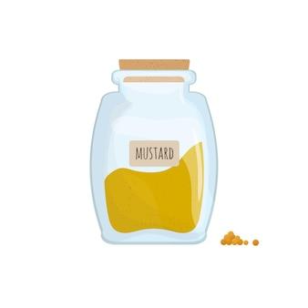 Senape in polvere conservata in un barattolo trasparente isolato su sfondo bianco. condimento pungente, spezia alimentare, ingrediente da cucina in un contenitore da cucina trasparente. illustrazione vettoriale colorato.