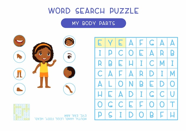 La mia illustrazione di progettazione di puzzle di ricerca di parola delle parti del corpo