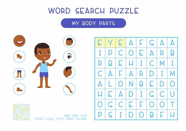 Il mio puzzle di ricerca di parole di parti del corpo