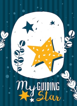 La mia stella guida, poster con lettere con illustrazione di stelle