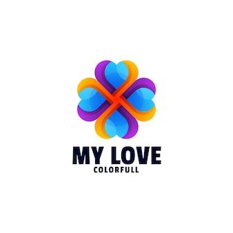Il mio logo di stile colorato gradiente di amore
