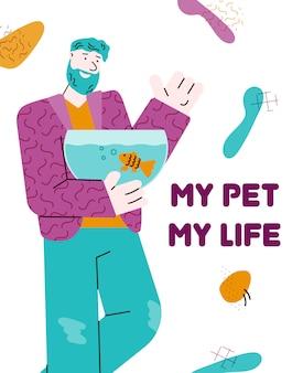 Il mio animale domestico, la mia vita - proprietario di pesci del fumetto che tiene acquario e sorride con amore.