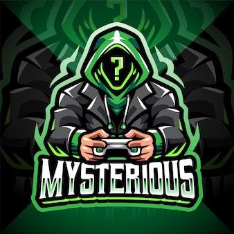 Misterioso design del logo della mascotte dell'esportazione del giocatore