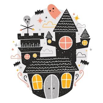 Misterioso castello infestato, simpatici fantasmi spaventosi divertenti e pipistrelli che volano intorno contro il cielo notturno stellato sullo sfondo