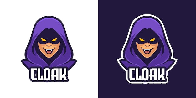 Modello di logo del personaggio mascotte dell'uomo misterioso my