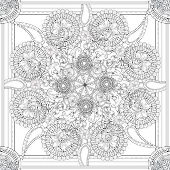 Misterioso disegno di sfondo mandala con elementi floreali Vettore Premium