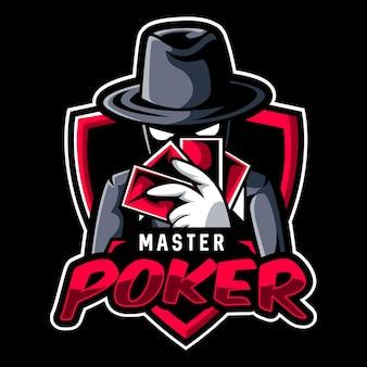 Un misterioso maestro del poker che tiene in mano le carte esport logo team