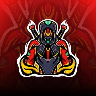 Logo della mascotte esport misterioso cavaliere spada gioco esport