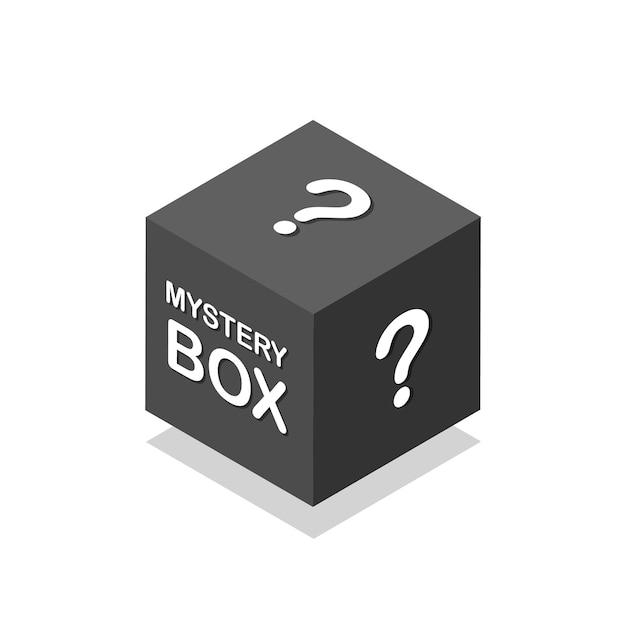Icona isometrica della scatola nera misteriosa prezent segreto concetto di premio fortunato illustrazione vettoriale isolata