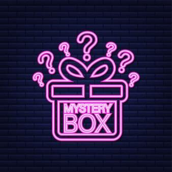Scatola misteriosa. imballaggio per il concept design. sorpresa presente. progettazione del pacchetto. simbolo di aiuto. icona al neon. illustrazione di riserva di vettore.