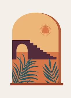 Finestra mistica ad arco con paesaggio astratto sole e foglie di palma