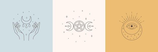 Elementi di design del logo boho mistico con occhio di stella di mani di luna